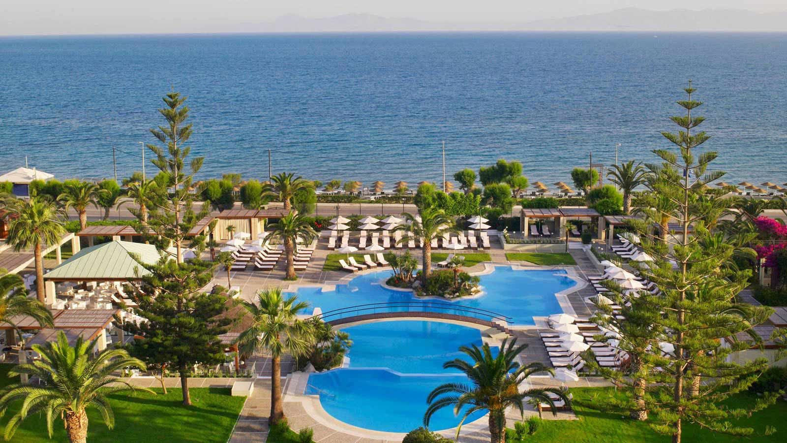 The main pool at the Sheraton Rhodes Resort is the center of all summer activity